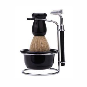 5 in 1 Men Manual Razor Set with 5 Blades Wet Shaving Beard Razor Shaving Brush Shaving Kit Bowl Stainless Steel Stand Holder