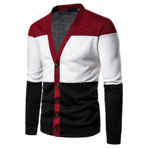 Moda lavorato a maglia Cardigan Uomini Autunno Inverno 2019 Uomo sportivo maglioni Slim attillata collo a V Pulsante Uomini Maglione Sueter Hombre