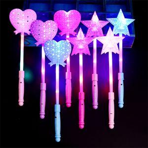LED Light Sticks Concerto Vocal Cheer Flash Vara Crianças Cinco Pointed Estrela Escavar Estilo Luminescence Luzes 1 65sc L1