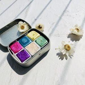 Handmade cristal Watercolor Mestre Pearly Pintura Set Diy Acuarela Pearlescent Pigment Aquarelle Macaron Glitter da cor de água