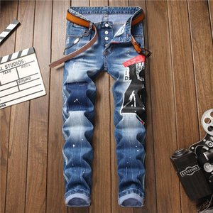 Designer Jeans for Men Fashion Squared Ripped Hole Mens Skinny Jean Pants with Letters Brand Straight Luxury Jeans Clothing