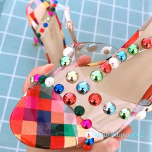 Hot Sale-Free shipping Fashion leather studded spikes ankle strappy shoes thin heels sandals