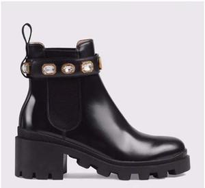 Sapatos de Couro de alta qualidade da Mulher Lace up Fivela de cinto de fivela de tornozelo botas de fábrica direto da fábrica calcanhar áspero rodada cabeça outono inverno Mar N02