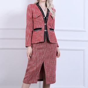 2020 Runway Red Women Plaid Tweed Jacket Autumn Winter Pockets V Neck Single Breasted Tweed Coat Red Short Coat Crop Overcoat Outerwear