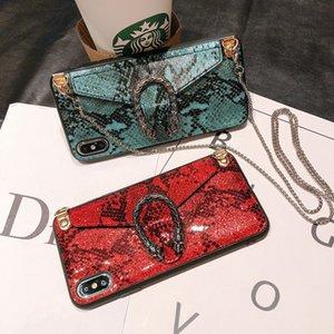 Роскошные чехлы для телефонов змея Crossbody сумка кошелек для iPhone 11 Pro Max XS XR 8 7plus с цепью талреп мода задняя крышка дизайнерская крышка телефона