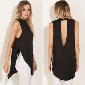2016 Mujeres Negro atractivo del chaleco sin mangas tops casuales de Split camiseta floja Tops Blusa Larga