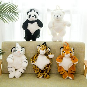 Kindergarten boys and girls plush stuffed animal backpacks, leopard, tiger, panda, polar bear backpack, purse, coin book bag