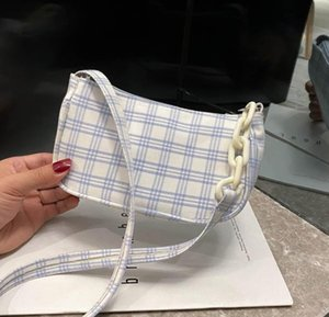 Sıcak Ekose Bayan Çanta Koltukaltı Çanta 2020 Yeni Omuz Moda Basit Kadın Çanta Mizaç Casual Beyaz Çanta