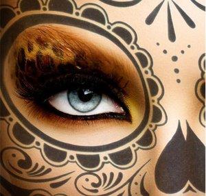 Хэллоуин вечеринка череп художественные украшения татуировки наклейки аксессуары маска красота сахарная вода передача временное водонепроницаемое лицо GB1097 WLUGM