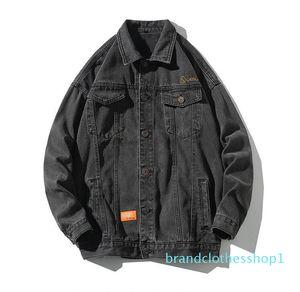 Fashion- Autumn men's street trend embroidery denim jacket retro loose jacket coats Classic windproof jacket Outerwear Plus size M-5XL
