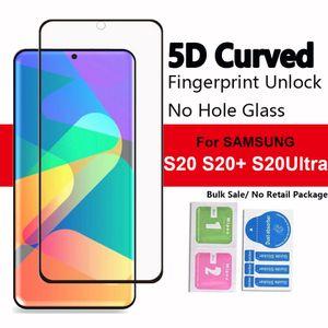 5D Kein Loch Fingerabdruck entsperren Full Cover Ausgeglichenes Glas-Schirm-Schutz für Samsung Galaxy S20 S20PLUS S20Ultra S10 S9 S8 Plus-note10 Note8