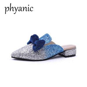 Phyanic Tropfenverschiffen 2018 neue Sommer Bling Gitter Boetie Frauen Maultiere Schuhe Spitzschuh Pantoffeln Frauen Mode Hochzeitsschuhe