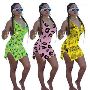 Bekleidung Fashion Neckholder Frauen Bodycon Kleider Sexy 3D-Druck-Strand-Kleid-Frauen mit V-Ausschnitt Casual Weibliche