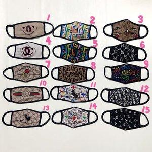 2020 15style sin caja de lujo de la cara Máscara de impresión de letras Boca-mufla transpirable famoso de la máscara reutilizable lavable ciclo al aire libre Máscara diseñador