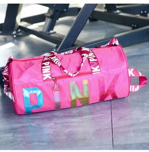 Hot sale letter Pink travel sports bag waterproof fitness laser Sequin portable shoulder bag custom logo storage bag
