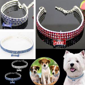 Bling strass pet cat dog colar de cristal filhote de cachorro colar coleiras coleira para pequeno médio cães jóias com diamantes hh9-2076