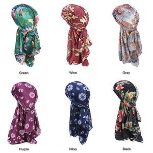 Beach Cap Doo Rags Floral Long-tailed Velvet Turban Cap Head Wrap Bandana Headwear Apparel Accessories