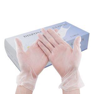 50 Adet / 3 Boyutları Mevcut Güzellik Toksik olmayan Dövme Laboratuvarı Mutfak Ev Temizlik Eldiven İçin Kutu PVC Tek kullanımlık eldiven