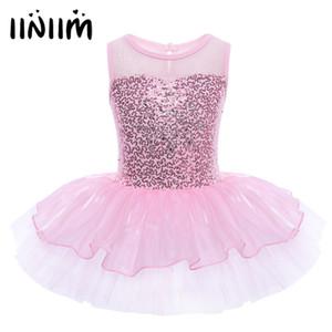 Iiniim Filles Ballerine Costume De Soirée Paillettes Réfléchissant Fleur Dancewear Gymnastique Justaucorps Pour Enfants Ballet Tutu Robe Q190604