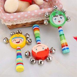 Dos desenhos animados de madeira de sorriso da cara do arco-íris Rattle Mão colorida de Bell chocalhos Jingle Bells infantil Shaker chocalho Educação Música Brinquedos