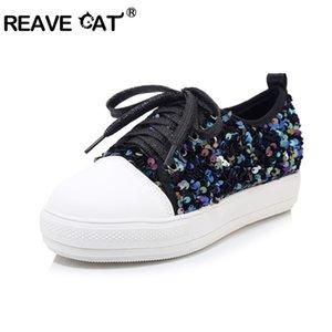 REAVE CAT повседневная Bling блестками квартиры для женщин круглый носок платформы PU зашнуровать большой размер 40-44 серебристо-черный