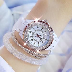 2019 BS abelha irmã Mulheres relógio de pulso Relógio de luxo Mulheres cerâmica branca Presentes Moda Ladies Watch Reloj Mujer para mulheres Saati V191217