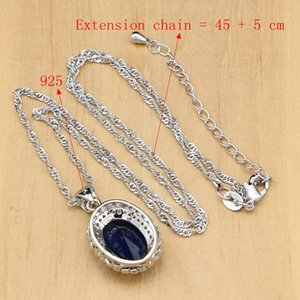 Silver 925 Jewelry Blue Set Natural Zircon White Crystal Costume For Women Stones Earrings Pendant Rings Bracelet Necklace Set