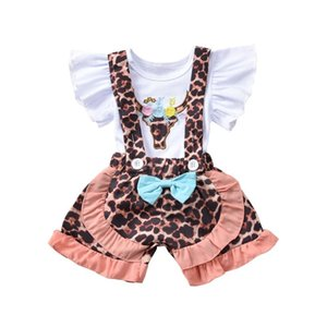 Toddler Baby Girls Kid Clothes Set Leopard Outfits Ruffles Flower T shirt Top Toddler Overalls Shorts Baby Costumes Summer