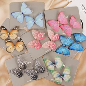 2pcs / set Nuovo variopinto sveglio della forcella della farfalla per le donne le ragazze dolci ornamento dei capelli clip Barrette fascia accessori dei capelli