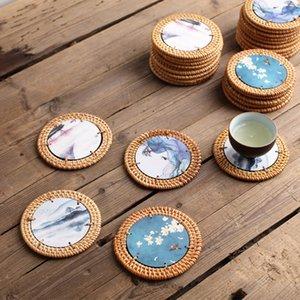 Coaster Rattan Mat Printing Tea Cup Holder Pot Mat Pot Insulation Placemat Hand Color Matching Tea Ceremony Accessories Factory Direct Sales