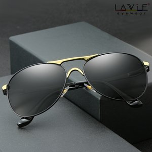 편광 광 변색 회색 선글라스 남성 파일럿 선글라스 운전 고글 카멜레온 색 변경 안경 BS8722 T200619