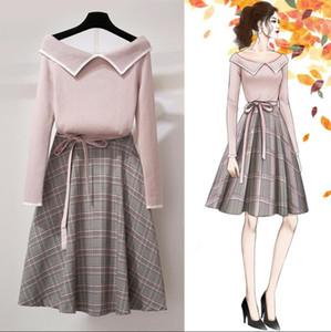 ICHOIX v-neck sweater roupas conjunto de mulheres de inverno 2 peça duas casuais 2 pcs menina conjuntos de peças roupas xadrez A-Line saia set