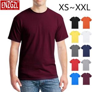 ENZGZL 2020 Сплошной цвет T Shirt Mens плюс размер XS XXL футболки 100% хлопок лето с коротким рукавом Tee Boy Tshirt Tops Высокое качество