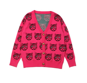 Runway Cardigan New Inverno Chefe Cat Pattern Sweater Oversized Vintage Jacket Jersey Wool Knit Jumper