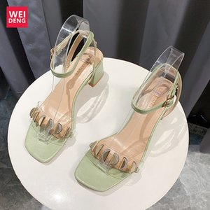 Weideng Kalın Alt Yuvarlak Burun Kadınlar Yüksek topuklu Orta Topuklar Tatsız Kadınlar Bilek Açık Şık Günlük Ayakkabılar Klasikler