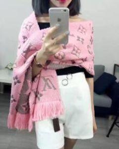 Nouveau 2019 écharpe de mode d'hiver LOGO MANIA SHINE Écharpe Luxe Femmes Hommes Deux Laine Rouge Côté soie noire Couverture de Designer Echarpes Châles