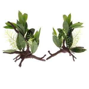 2pcs Aquarium Reptile Tortue Grenouille Plantes Rainforest Habitat artificiel vigne