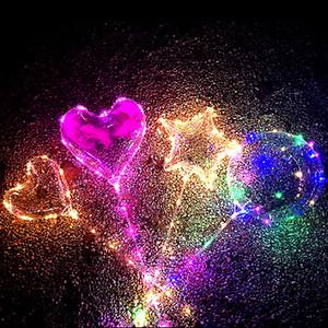 2019 Nova Luzes LED Balões Noite Iluminação Bobo brilhante casamento Bola Multicolor Decoração Balão decorativa Com Vara