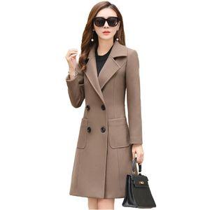 Women Autumn Winter Turn-Down Collar Wool Blends Coats Female Thick Warm Woollen Coats Outwear Ladies Solid Cashmere V508