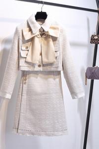 2020 Sonbahar Kış Yeni Yüksek Kalite Pist Ofis Lady 2 adet Dresse Seti Bow Cep Üst Düz Etek Kalın İki Adet eşofman ayarlar