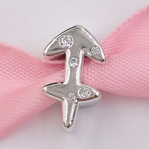 Authentic 925 Sterling Silver Beads Sparkling Sagittarius Zodiac Charm Charms Fits European Pandora Style Jewelry Bracelets & Necklace 79841