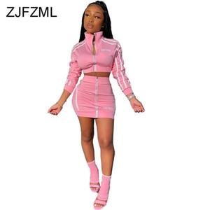 지퍼 스트라이프 패치 워크 두 조각 세트 여성의 스탠드 칼라 긴 소매 자르기 + 높은 허리 미니 스커트 2 조각 여성 운동복 탑