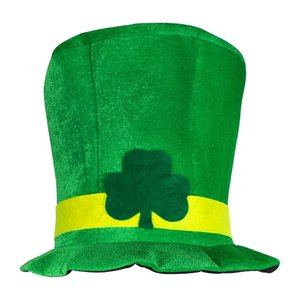 Irish St Patrick Day Green Shamrock Velvet High Top Hat Party Adult Cap Costume Other Event Party Supplies