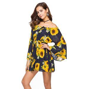 Robe simple pour femme fille d'été au-dessus du genou longueur Slash Neck Lady Wed Beach Wed Dresse Soirée simple soirée Beach Robes Mini
