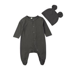 Dernier né 0-12m Nouveau-né Footies Vêtements bébé Set 2pcs bébés bébé garçon fille Coton Jumpsuit + chapeau Set Outfit