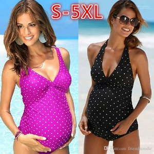 Polka Dot Printed Swimsuit Deep V Pregnant Women Onepiece Swimsuit Women Retro One Piece Bikini Playsuit