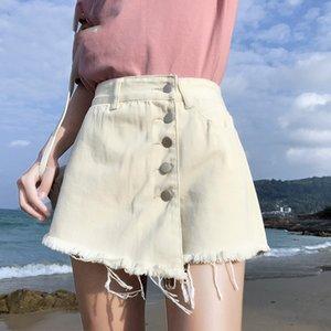Vintage 2020-Sommer-Frauen-Denim-Rock Shorts Weiß koreanische lose breite Bein-hohe Taille Jean Shorts Frauen Jean Röcke für Damen