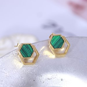 New arrival Top quality stud earring with 1.4cm rhombus malachite for women jewelry wedding gift PS6732