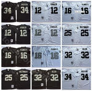 NCAA Futbol 12 Ken Stabler Jersey 34 Bo Jackson 16 Jim Plunkett 32 Marcus Allen 25 Fred Biletnikoff Lester Hayes Adam Vintage Siyah Beyaz