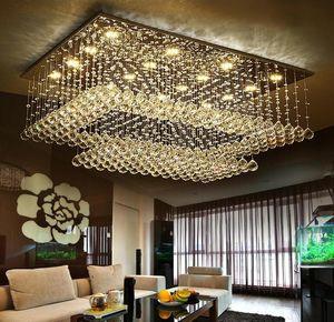 Plafoniera moderna a LED in cristallo a sospensione K9 Crystal Raindrop Rectangle Plafoniere Apparecchio da incasso a LED